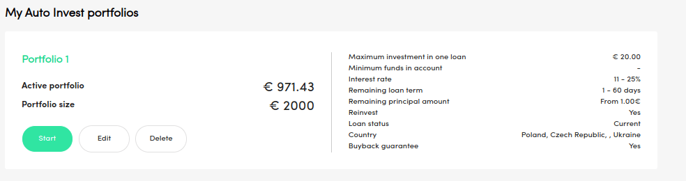 Auto invest settings Peerberry